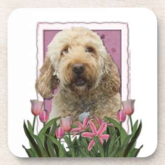 Mothers Day - Pink Tulips - GoldenDoodle Beverage Coasters