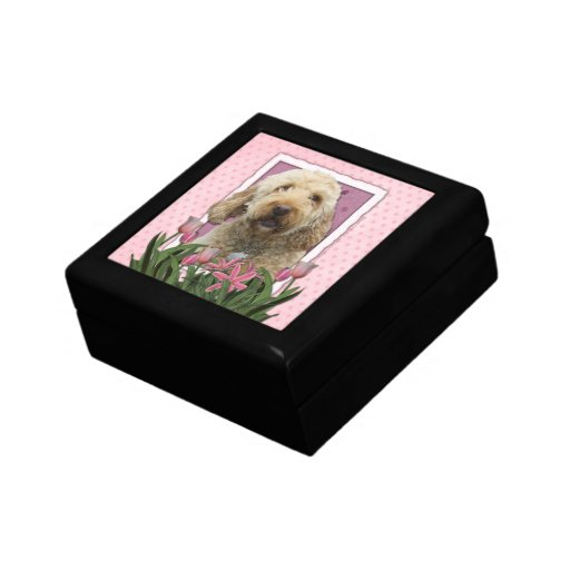 Mothers Day - Pink Tulips - GoldenDoodle Jewelry Box