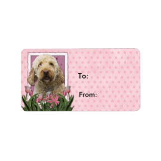 Mothers Day - Pink Tulips - Goldendoodle Custom Address Label
