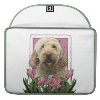 Mothers Day - Pink Tulips - GoldenDoodle Sleeve For MacBooks