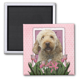 Mothers Day - Pink Tulips - Goldendoodle Magnets