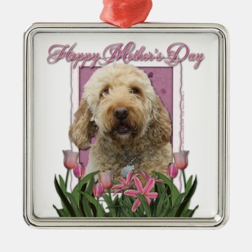 Mothers Day - Pink Tulips - GoldenDoodle Christmas Tree Ornaments