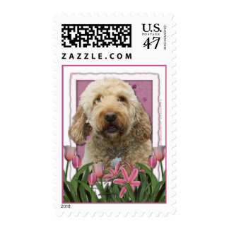 Mothers Day - Pink Tulips - GoldenDoodle Postage