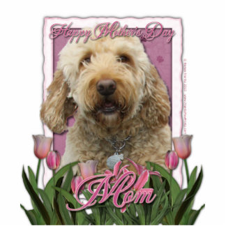 Mothers Day - Pink Tulips - Goldendoodle Statuette