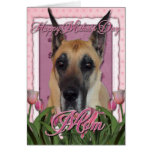 Mothers Day - Pink Tulips - Great Dane Greeting Card