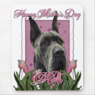 Mothers Day - Pink Tulips - Great Dane - Grey Mouse Pad