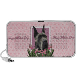 Mothers Day - Pink Tulips - Great Dane - Grey Portable Speaker