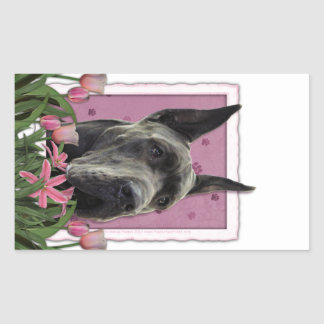 Mothers Day - Pink Tulips - Great Dane - Grey Rectangular Sticker