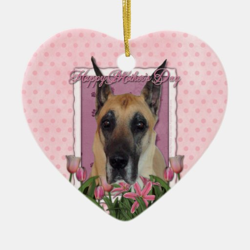 Mothers Day - Pink Tulips - Great Dane Double-Sided Heart Ceramic Christmas Ornament