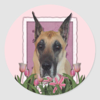 Mothers Day - Pink Tulips - Great Dane Sticker