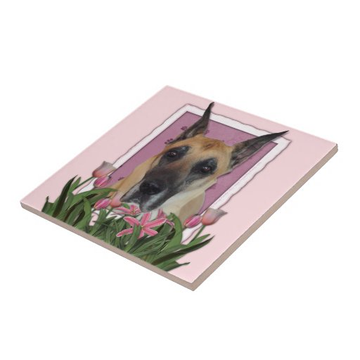 Mothers Day - Pink Tulips - Great Dane Ceramic Tile