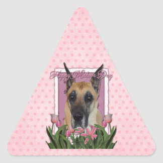 Mothers Day - Pink Tulips - Great Dane Triangle Sticker