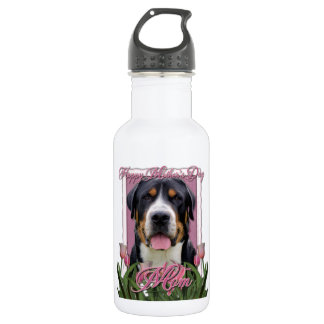 Mothers Day Pink Tulips Greater Swiss Mountain Dog 18oz Water Bottle