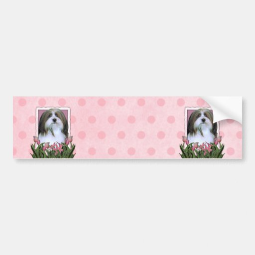 Mothers Day - Pink Tulips - Havanese Car Bumper Sticker