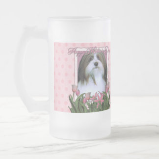Mothers Day - Pink Tulips - Havanese Frosted Glass Beer Mug