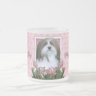 Mothers Day - Pink Tulips - Havanese Frosted Glass Coffee Mug