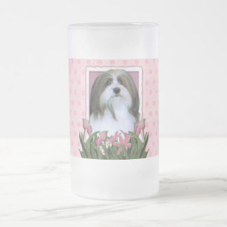 Mothers Day - Pink Tulips - Havanese 16 Oz Frosted Glass Beer Mug