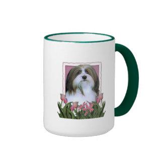 Mothers Day - Pink Tulips - Havanese Ringer Coffee Mug