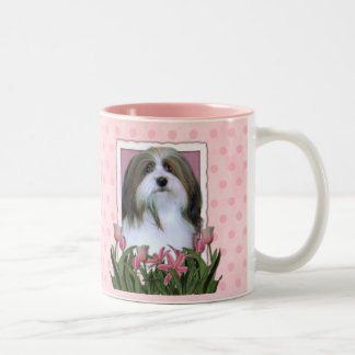Mothers Day - Pink Tulips - Havanese Two-Tone Coffee Mug