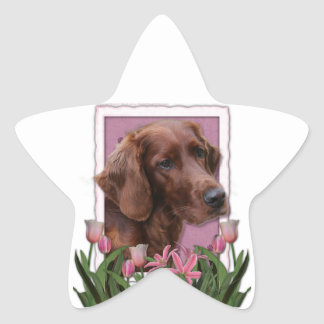 Mothers Day - Pink Tulips - Irish Setter Star Sticker