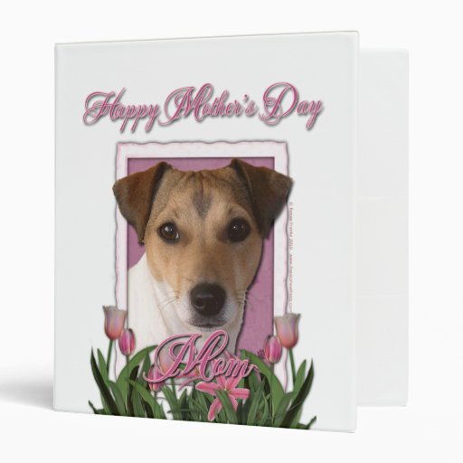 Mothers Day - Pink Tulips - Jack Russell Binders