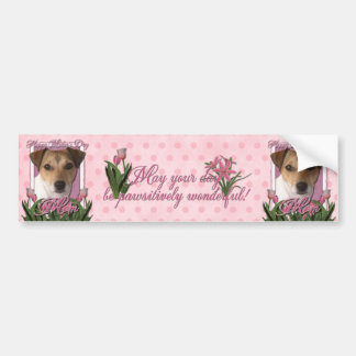 Mothers Day - Pink Tulips - Jack Russell Car Bumper Sticker
