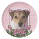 Mothers Day - Pink Tulips - Jack Russell Party Plates