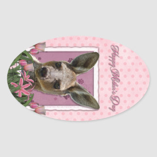 Mothers Day - Pink Tulips - Kangaroo Oval Sticker