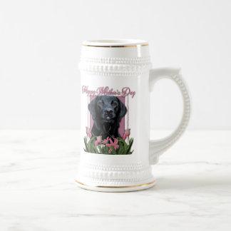 Mothers Day - Pink Tulips - Labrador - Black -Gage 18 Oz Beer Stein