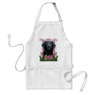 Mothers Day - Pink Tulips - Labrador - Black -Gage Adult Apron
