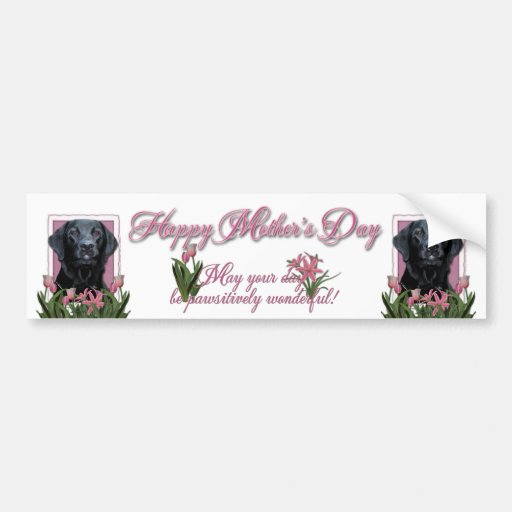 Mothers Day - Pink Tulips - Labrador - Black  Gage Bumper Sticker