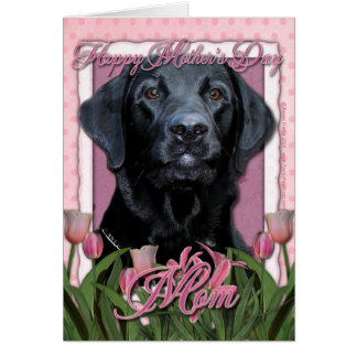 Mothers Day - Pink Tulips - Labrador - Black -Gage Card