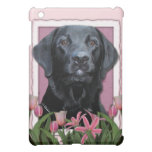 Mothers Day - Pink Tulips - Labrador - Black -Gage iPad Mini Cases