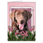 Mothers Day - Pink Tulips - Labrador - Chocolate Greeting Card