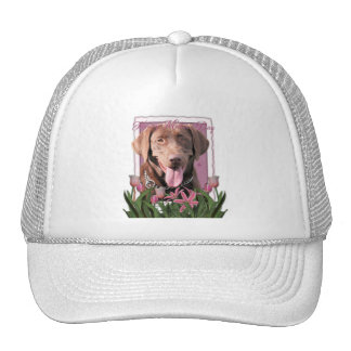 Mothers Day - Pink Tulips - Labrador - Chocolate Trucker Hat