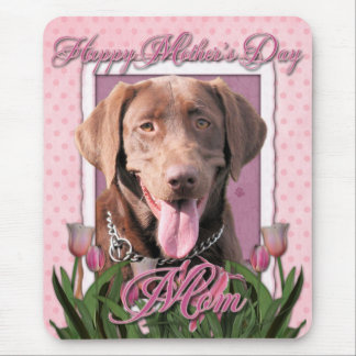 Mothers Day - Pink Tulips - Labrador - Chocolate Mouse Pad