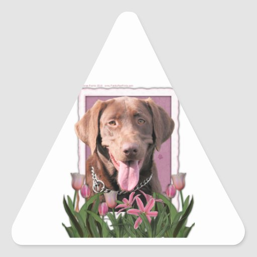 Mothers Day - Pink Tulips - Labrador - Chocolate Triangle Sticker