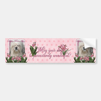 Mothers Day - Pink Tulips - Lowchen Bumper Sticker