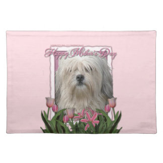 Mothers Day - Pink Tulips - Lowchen Cloth Placemat