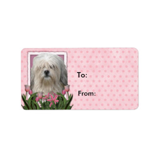 Mothers Day - Pink Tulips - Lowchen Address Label