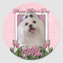 Mothers Day - Pink Tulips - Maltese Classic Round Sticker