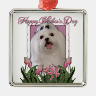 Mothers Day - Pink Tulips - Maltese Square Metal Christmas Ornament