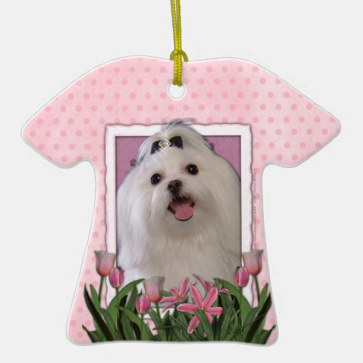 Mothers Day - Pink Tulips - Maltese Double-Sided T-Shirt Ceramic Christmas Ornament
