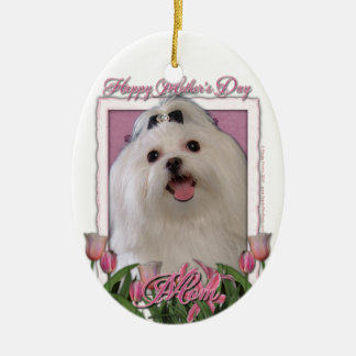 Mothers Day - Pink Tulips - Maltese Double-Sided Oval Ceramic Christmas Ornament