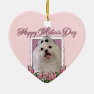 Mothers Day - Pink Tulips - Maltese Double-Sided Heart Ceramic Christmas Ornament