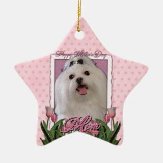 Mothers Day - Pink Tulips - Maltese Double-Sided Star Ceramic Christmas Ornament