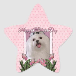 Mothers Day - Pink Tulips - Maltese Star Sticker
