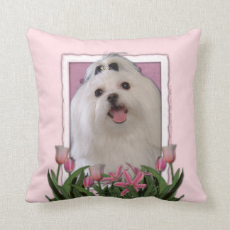Mothers Day - Pink Tulips - Maltese Throw Pillow