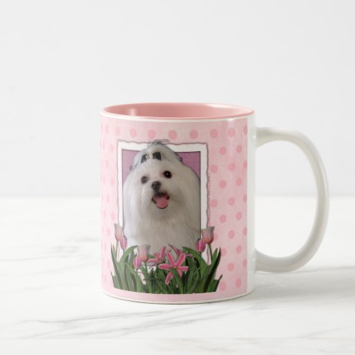 Mothers Day - Pink Tulips - Maltese Two-Tone Coffee Mug