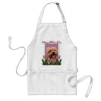 Mothers Day - Pink Tulips - Morkie - Lacey Adult Apron